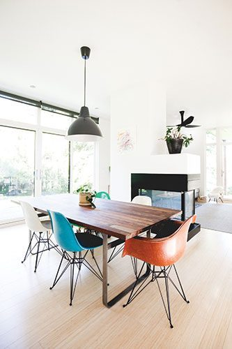 The Designers Hardly Touched Dining Space Connected To Living Room With A Fireplace As They Already Admired Owners Roy Staupes Wood Table And