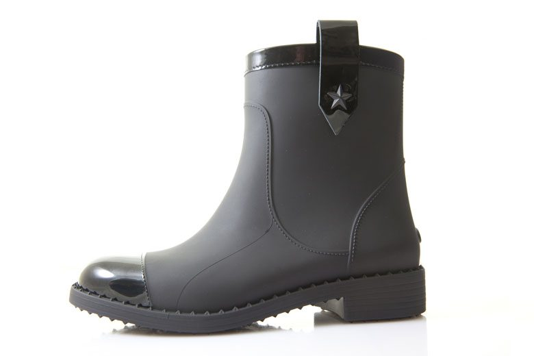 """2660dce63905 Black synthetic and leather Italian-made """"Edie"""" rain boot by Jimmy Choo  ( 350). Exclusively at Seattle-area Nordstrom stores and nordstrom.com"""