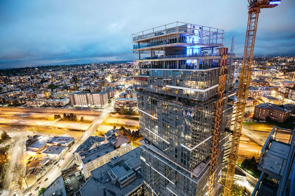 Seattle's High-Tech High-Rise Tops off With a Grand Affair