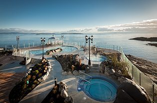 Relax in heated mineral pools on the coast of the Salish Sea