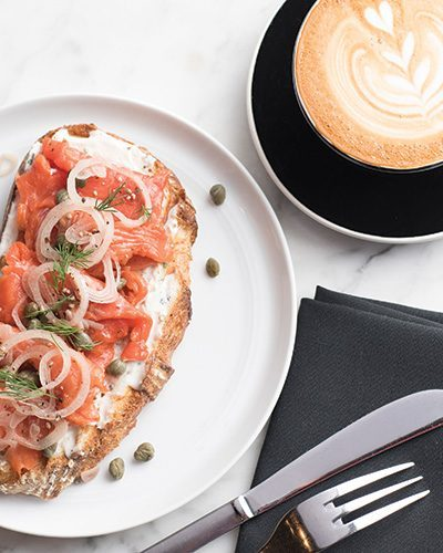 House-cured salmon toast from Mr. West in downtown Seattle