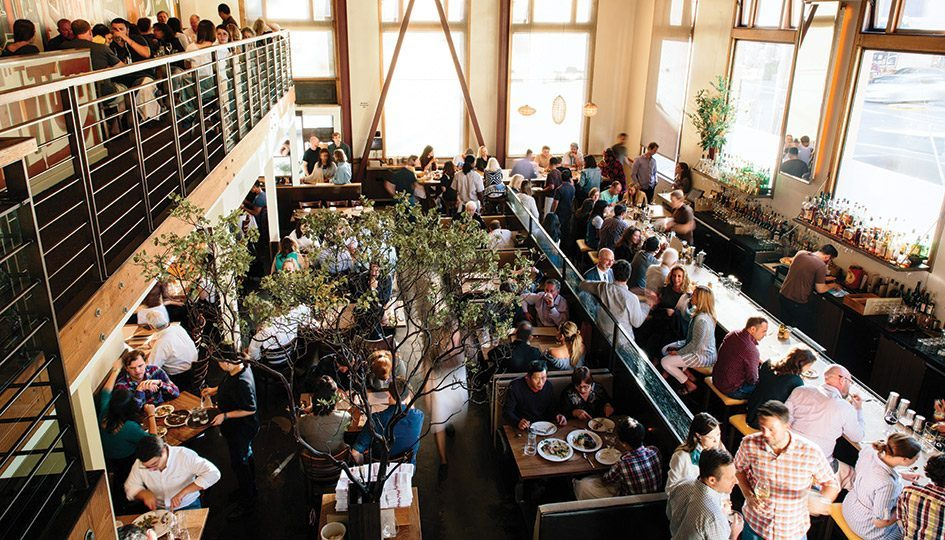 Bustling restaurant Nopa with high ceilings and natural light