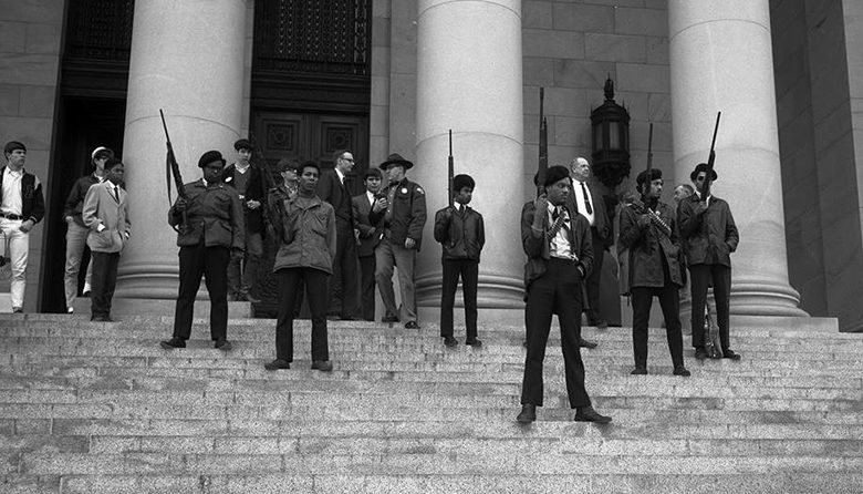 Seattle Black Panther Party protesters outside of the capitol building in Olympia