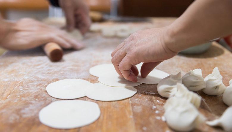 Making potstickers with Hsiao-Ching Chou at Seattle's Hot Stove Society