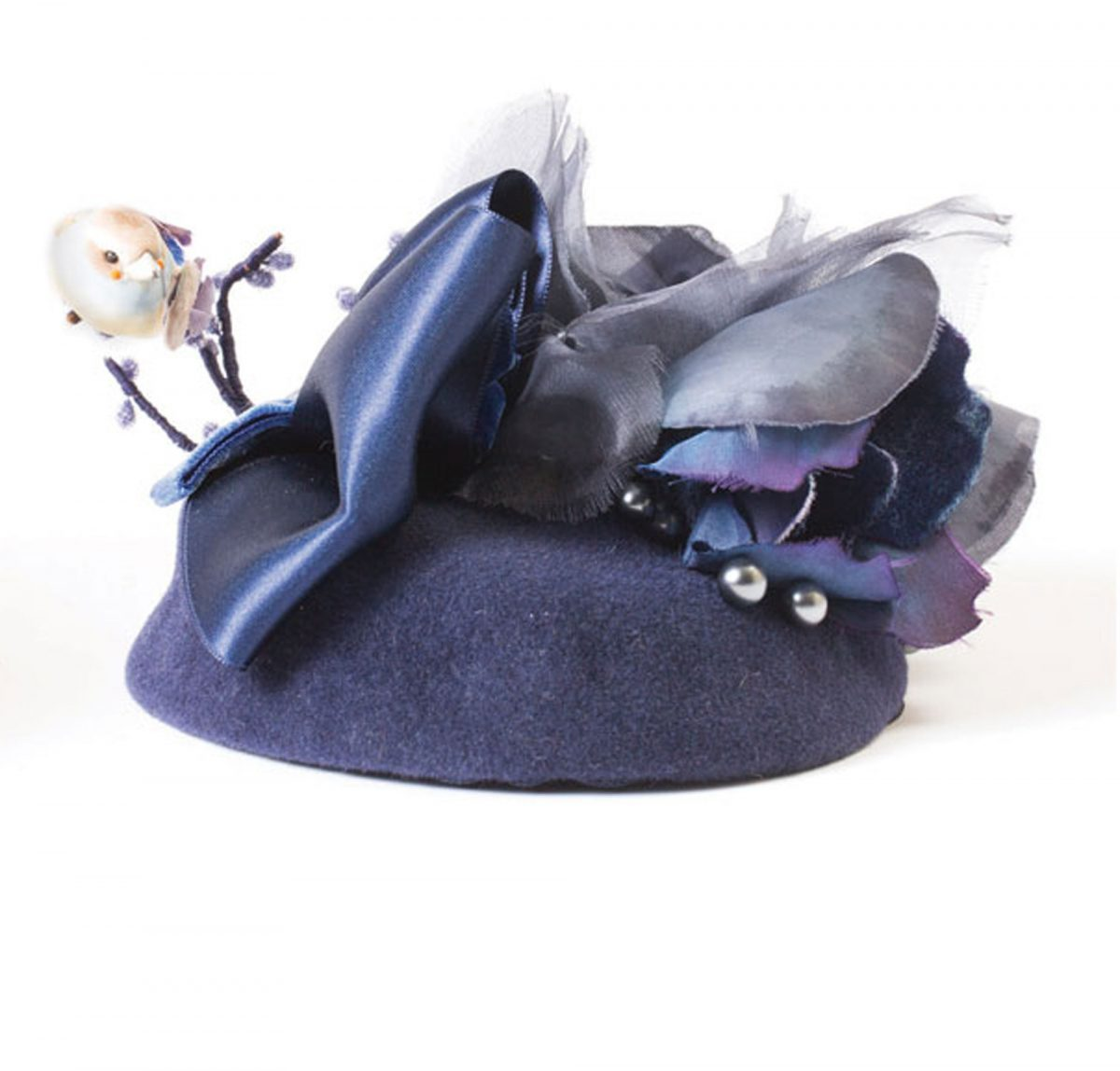 """51137c9fb1bdb """"Pretty in Blue"""" handmade blue cocktail hat with silk floral and decorative  bird details"""
