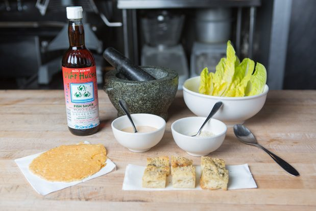 Fish sauce and all the ingredients for Fuller's special caesar