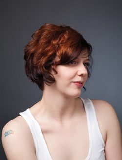 Versatile amber-colored, chin-length curls