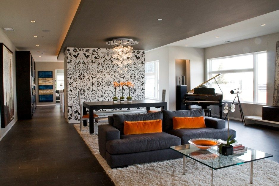 Spooky inspiration orange and black d cor to have all for Orange and black living room ideas