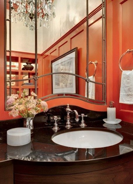 Shiny Orange Tiles Provide A Modern Look To This White And Grey Kitchen The Strong Color Is Restrained Small Portion Of Kept In Check