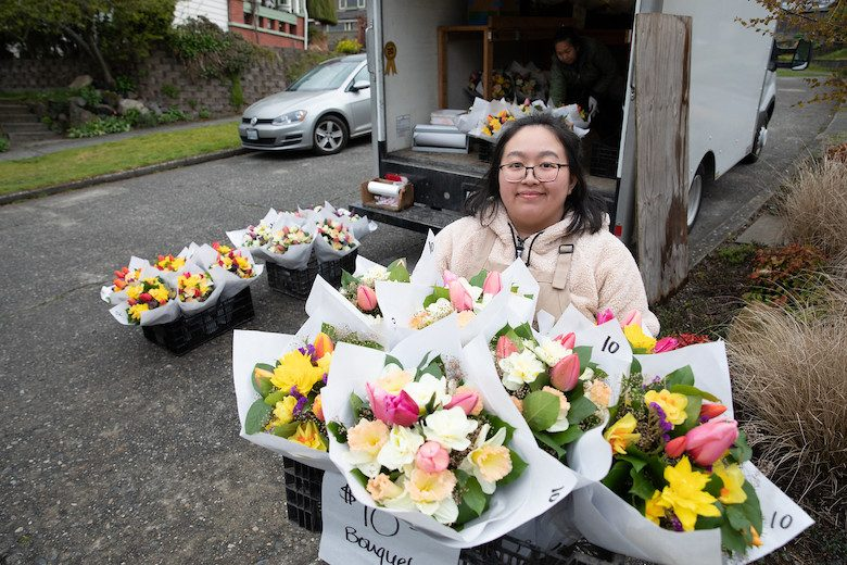 Nikki Cha delivers flowers from her family's Fall City farm.