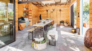 Dillon wanted the space to serve multiple purposes, so it was designed as an open room that could be a home gym, play space, planting area or entertaining venue