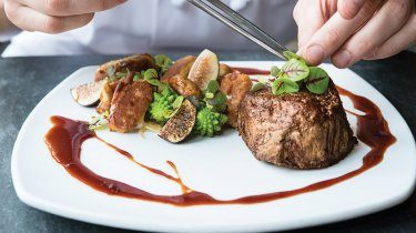 Steak served at Barking Frog