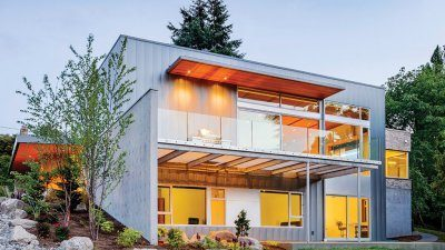 Exterior of a modern Mercer Island house