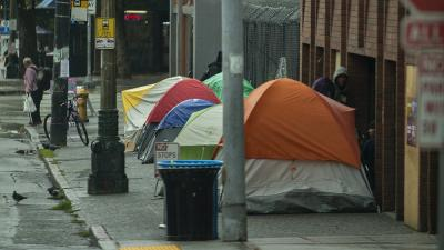 Homeless encampment in Seattle, Washington