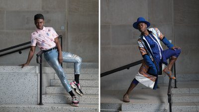 David Rue posing in two creative outfits