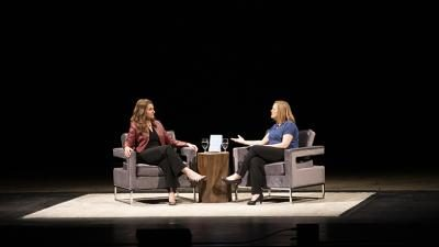Seattle philanthropist Melinda Gates with LinkedIn's editor at large Jessi Hempel