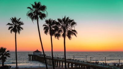 Vibrant sunset over Pacific Ocean seen from beach with palm trees