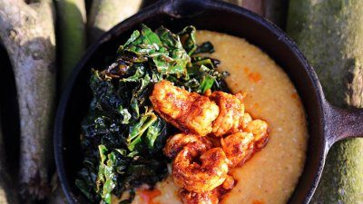 Blackened shrimp, cheesy grits and dinosaur kale (new puppy not included)